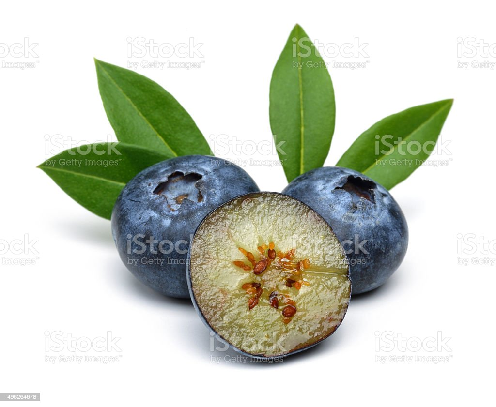 Half blueberries and Blueberries stock photo