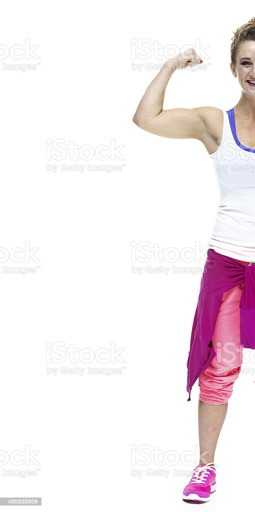 Half body of a female in sports clothing royalty-free stock photo