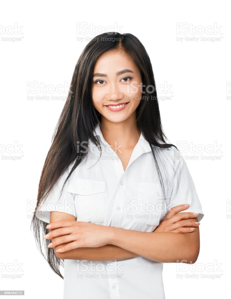 Half body portrait of young woman with oriental appearance stock photo