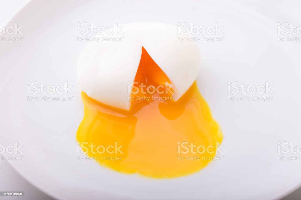 half boiled egg yolk stock photo