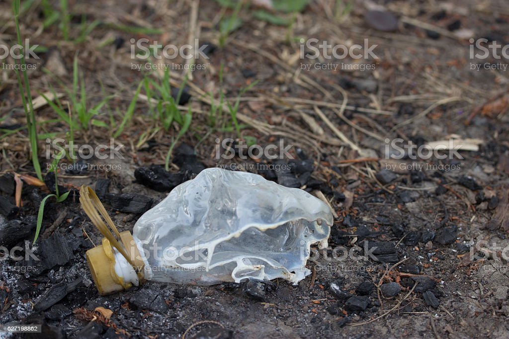 half burned platic bottle in forest stock photo