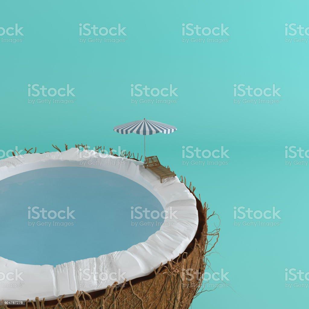 Een halve kokosnoot met zeewater binnen en ligstoel op de rand van pastel achtergrond voor zomer ontspannen concept. 3D-rendering foto