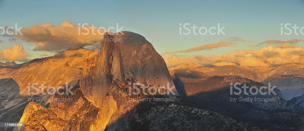 Half Dome at Sunset in Yosemite National Park stock photo