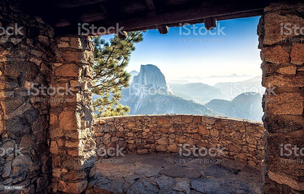 Half Dome Cabin View stock photo