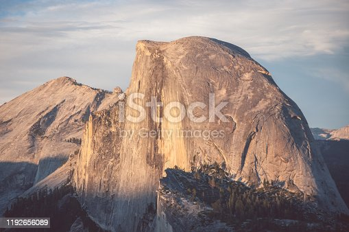 istock Half Dome is a granite dome at the eastern end of Yosemite Valley in Yosemite National Park, California 1192656089