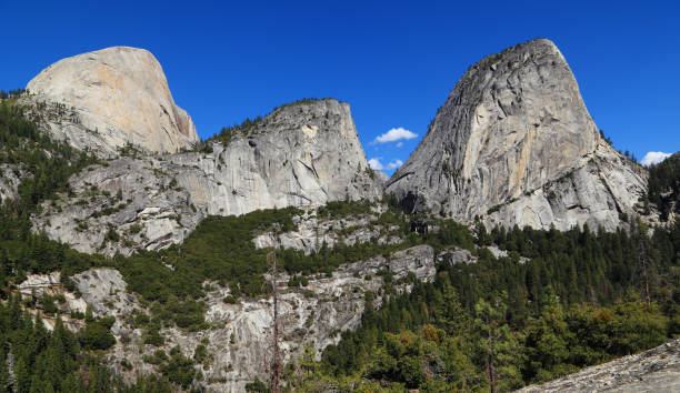Half Dome, Mount Broderick, and Liberty Cap stock photo
