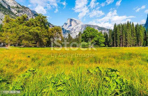 half dome on sunny day,yosemite national park,california,usa.