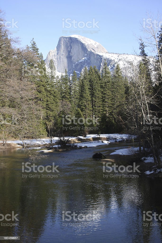 Half Dome Reflection in Merced River - Yosemite stock photo