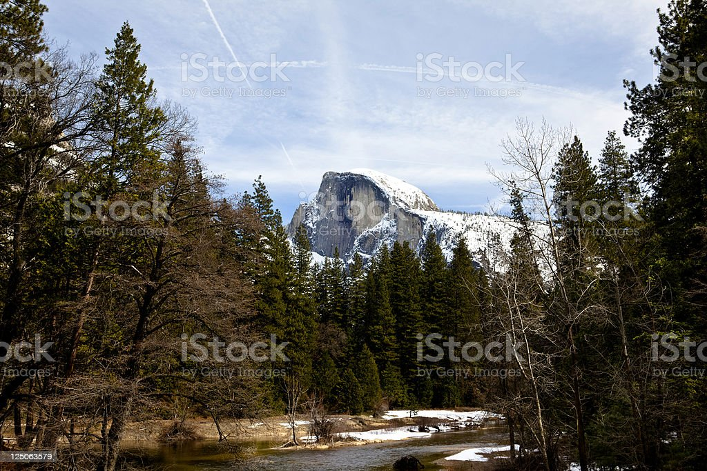 Half Dome seen from Yosemite Village royalty-free stock photo