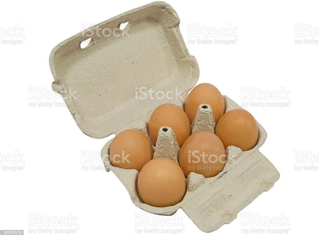 Half dozen fresh eggs stock photo