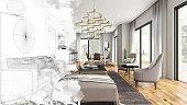 Half Drawing Sketch Modern Living Room Interior. 3d Render