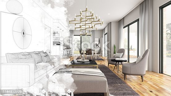 Half Drawing Sketch Modern Living Room Interior. 3d Render