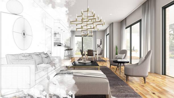 halve tekening schets moderne woonkamer interieur - interior design stockfoto's en -beelden