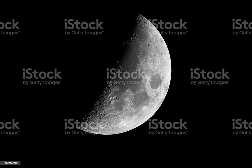 Half earth moon with craters stock photo