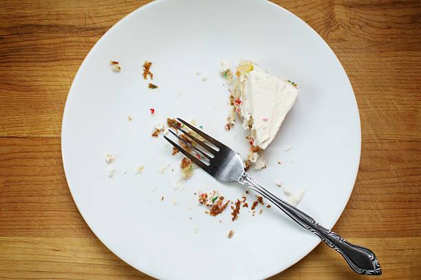 half eaten cake - tallrik uppätet bildbanksfoton och bilder