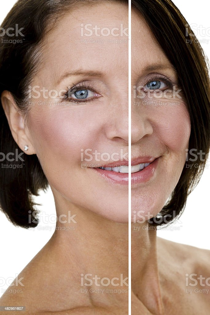 Half edited headshot stock photo