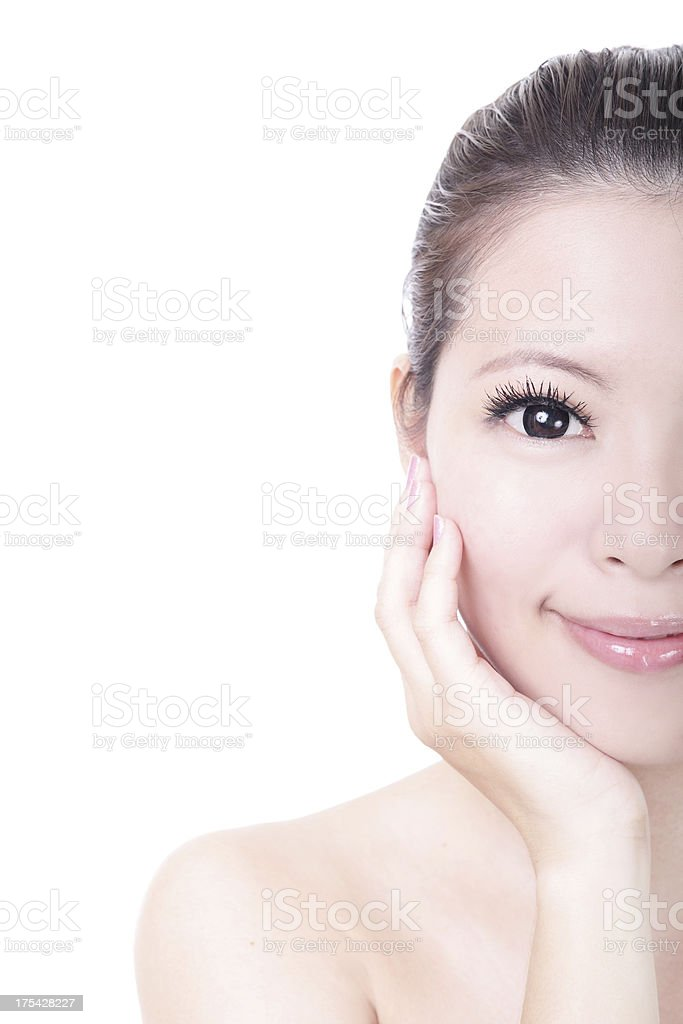 half face of beautiful Skincare woman royalty-free stock photo
