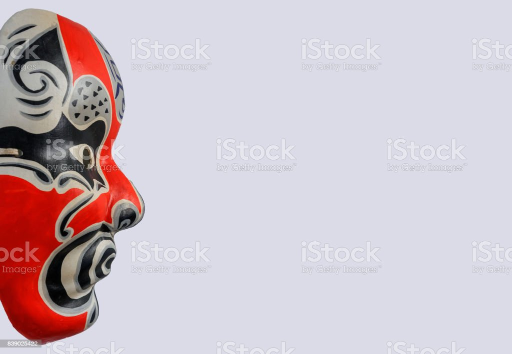 Half Face Of Traditional Japanese Theater Masks With Copy