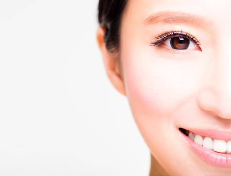 half face of young beautiful woman stock photo