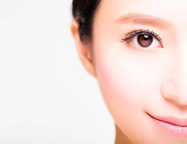 顔半分の若い美しい女性 - 人間の眼 ストックフォトと画像