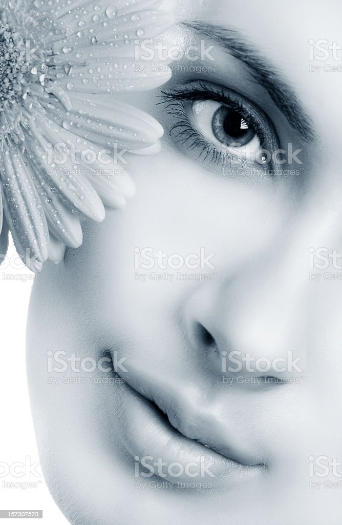 half face the blue color royalty-free stock photo
