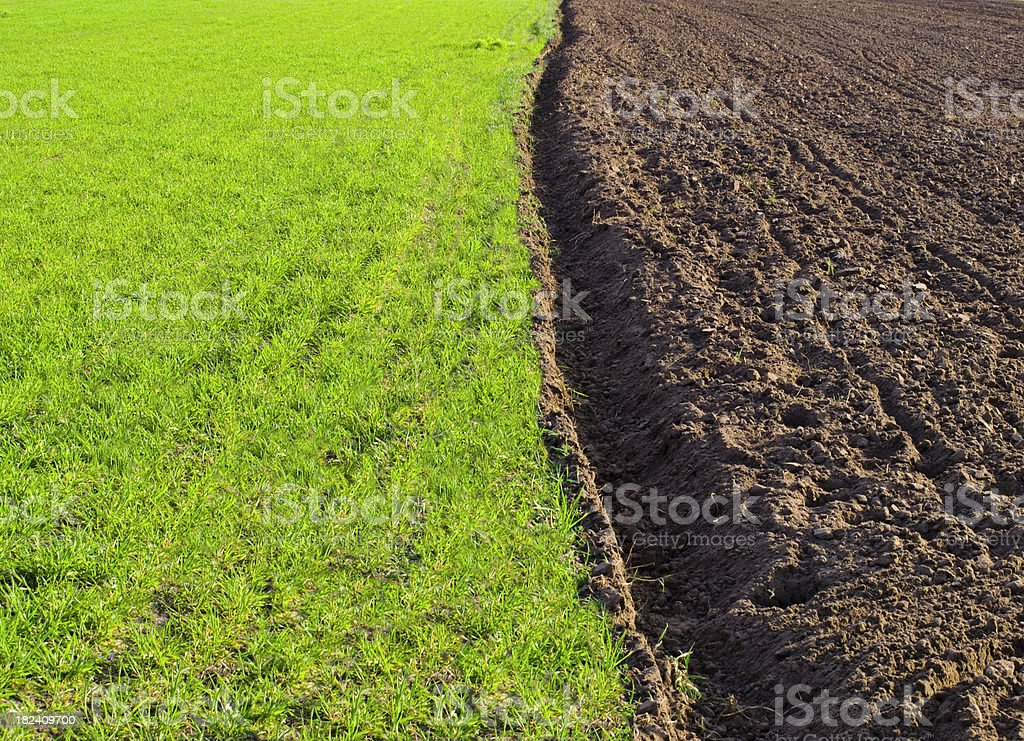 half field plowed royalty-free stock photo