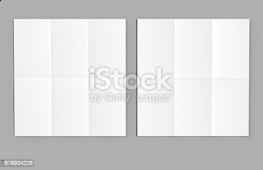932100364 istock photo Half fold then tri fold brochure ready for your design. Blank white 3d render illustration. 876934226