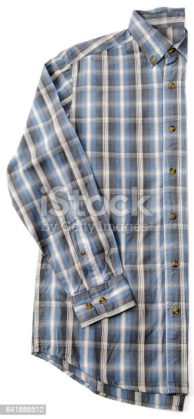 a selection of half folded flat men's dress shirts on a white background