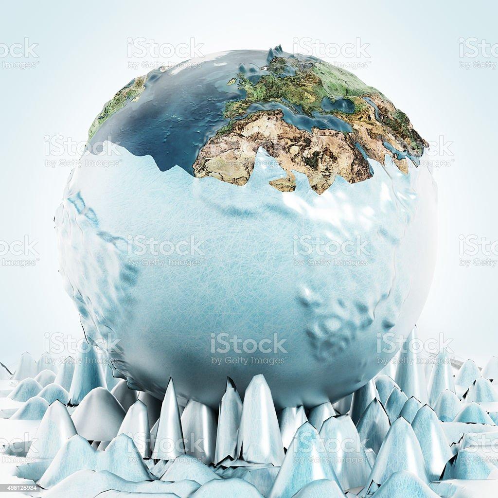 Half frozen Earth stock photo