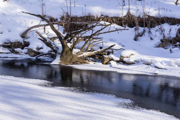 Half frozen Mill Creek stock photo
