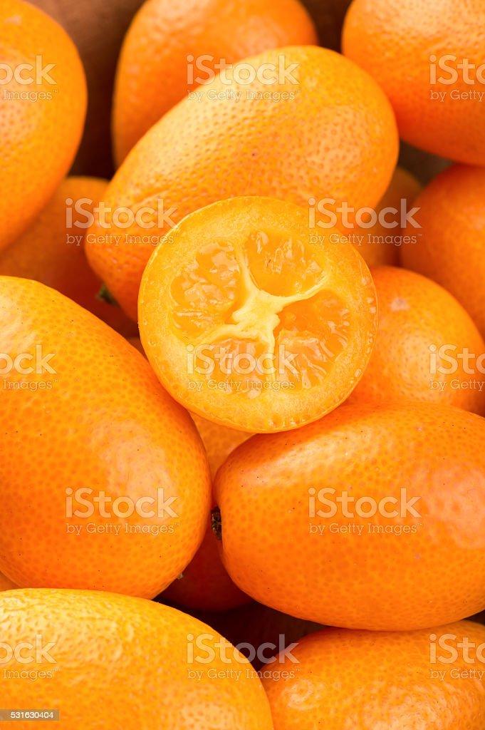 Half fruit kumquat stock photo