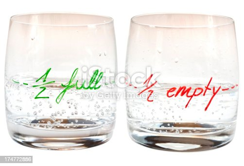glass half full and half empty