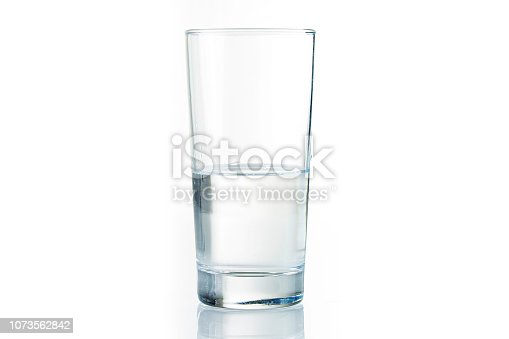 Half full water glass on white background