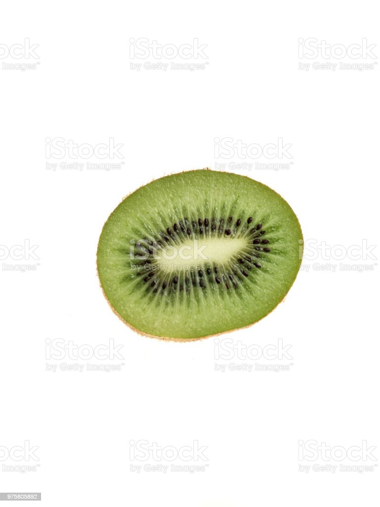 eine halbe grüne Kiwi auf weißem Hintergrund - Lizenzfrei Abnehmen Stock-Foto