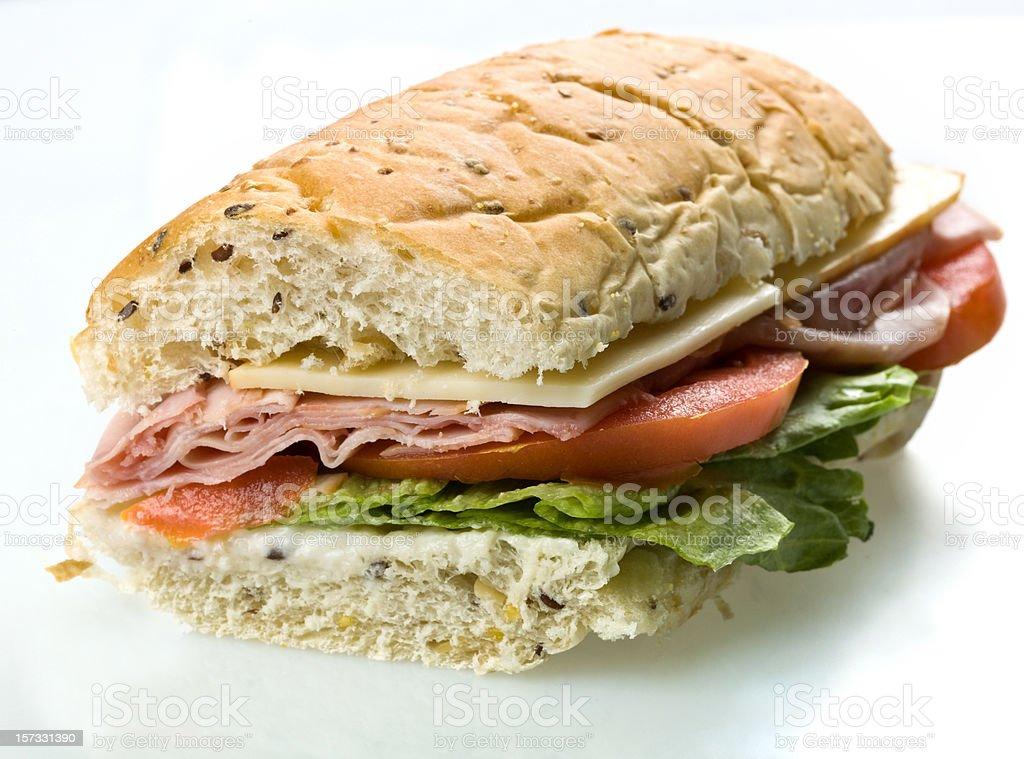 Half Ham and Cheese Submarine Sandwich stock photo