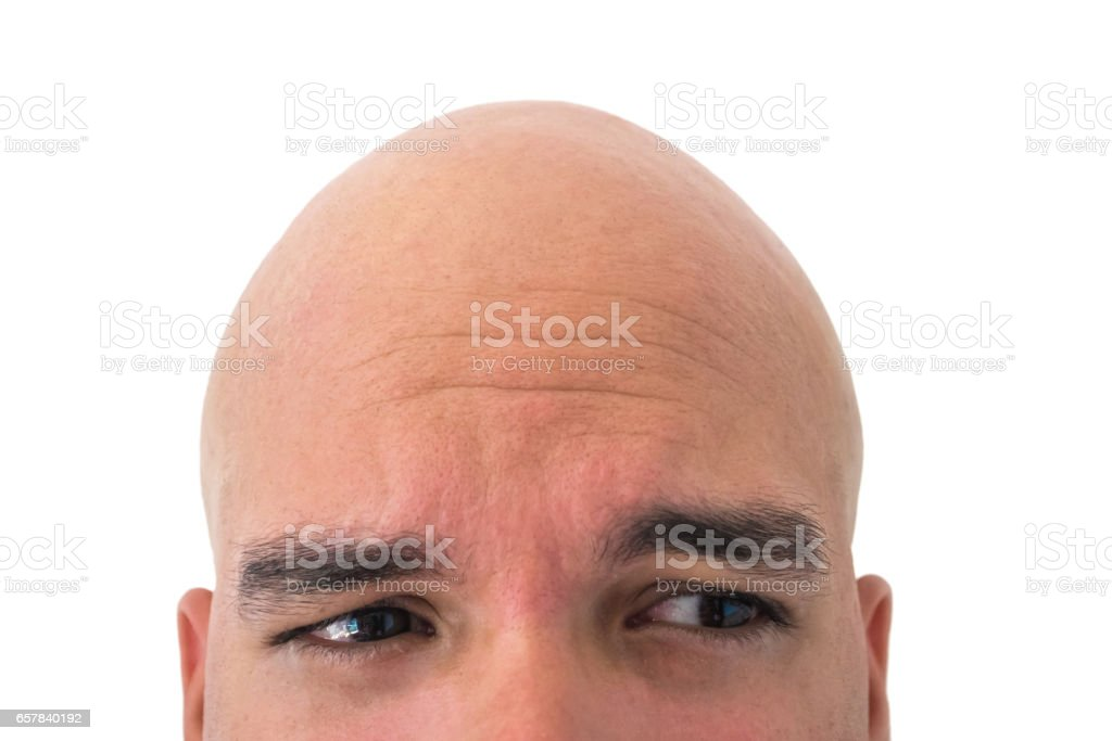Half head of a bald man isolated with white background stock photo