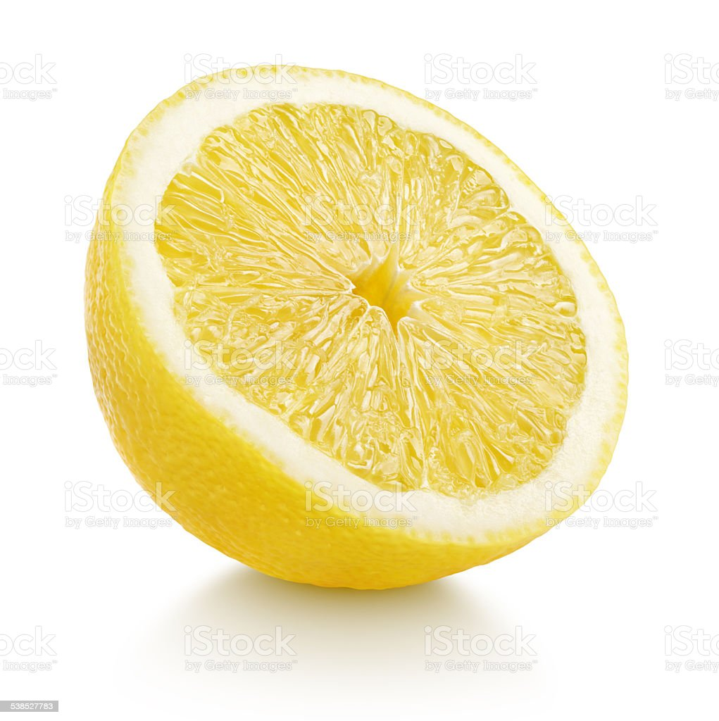 Half lemon citrus fruit isolated on white stock photo