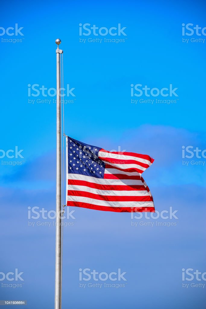 Half Mast for 9/11 stock photo