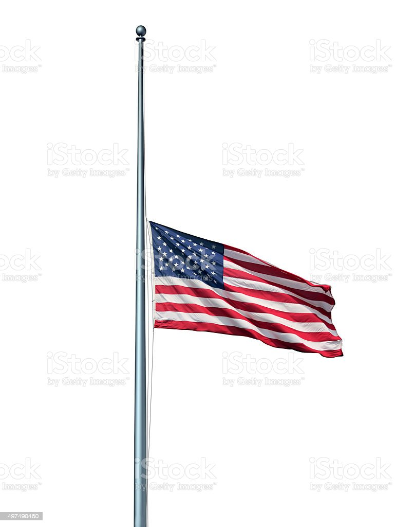 Half Mast US Flag Isolated stock photo