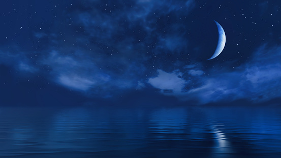 Dark starry night sky above calm ocean and fantastic big half moon shines at the mirror water surface. With no people simple natural background 3D illustration from my 3D rendering file.