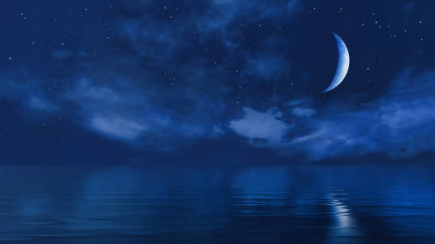 Half moon in starry night sky above ocean surface Dark starry night sky above calm ocean and fantastic big half moon shines at the mirror water surface. With no people simple natural background 3D illustration from my 3D rendering file. dreamlike stock pictures, royalty-free photos & images