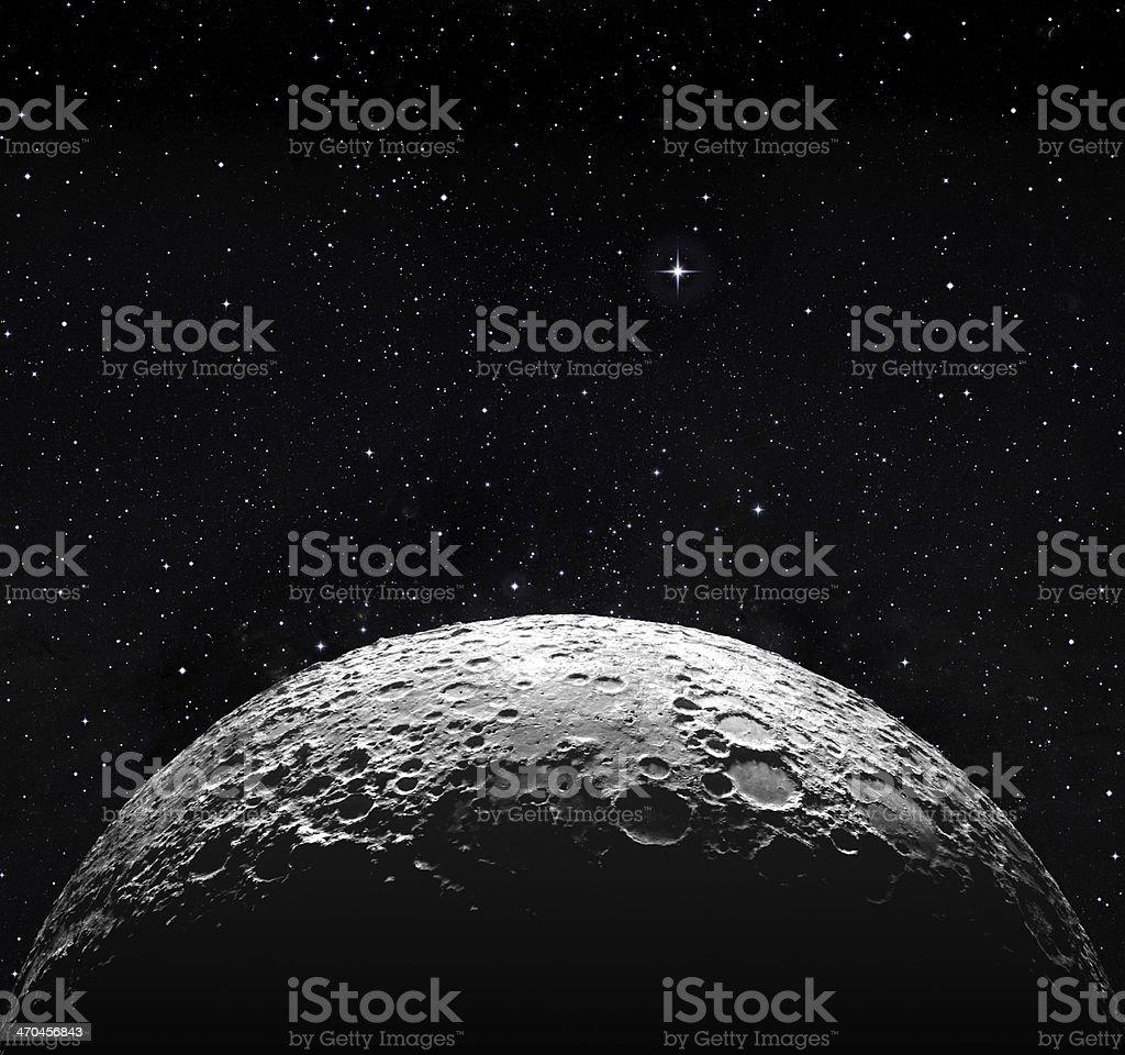 ハーフムーン面と星空のスペース ストックフォト