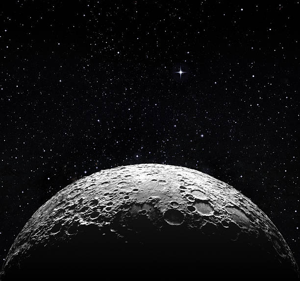 half moon surface and starry space - moon stockfoto's en -beelden
