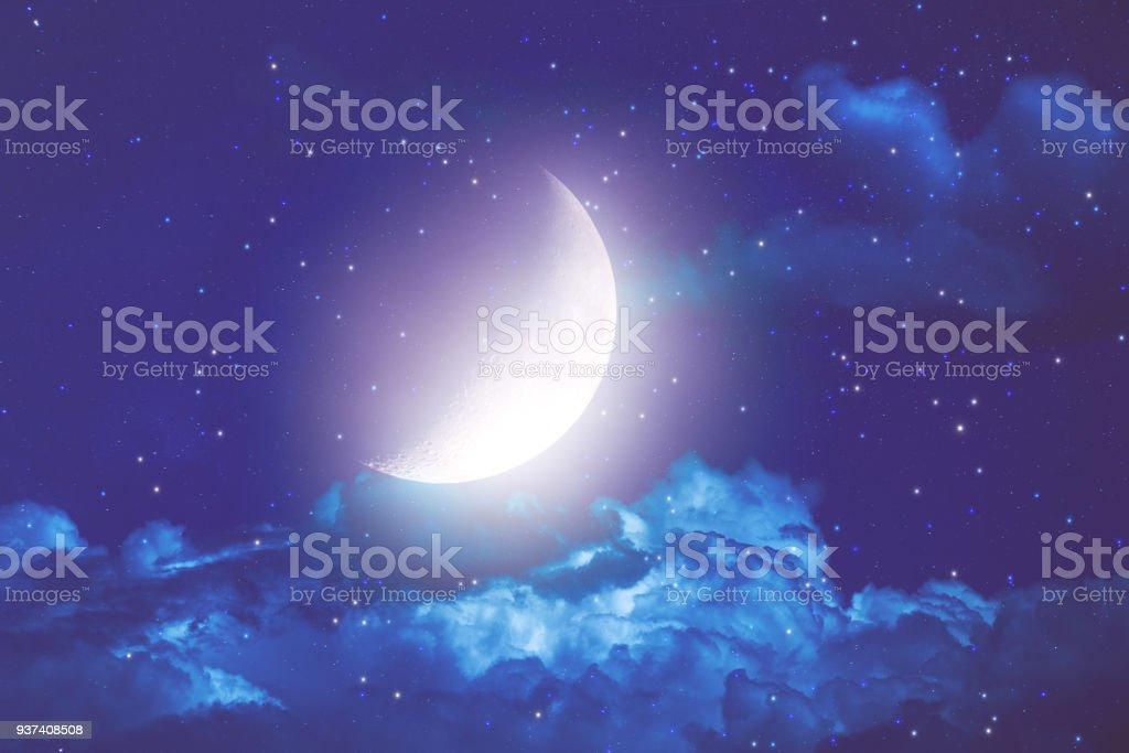 Half Moon with stars and clouds on a dark sky. My Astronomy work. stock photo