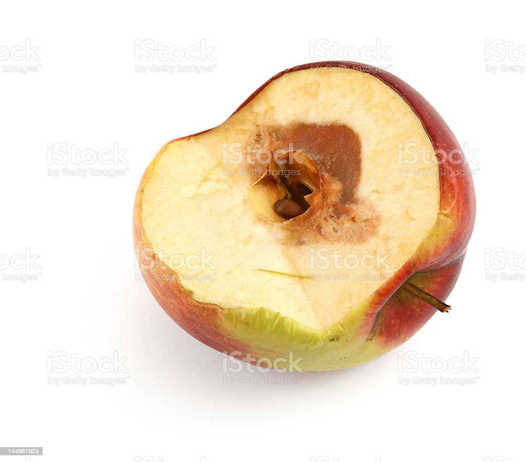half of a rotten apple royalty-free stock photo