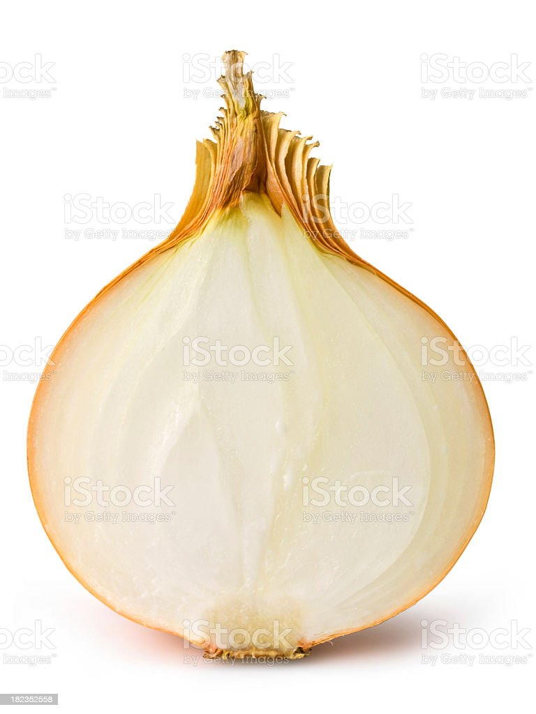 A half of a sliced onion on white stock photo