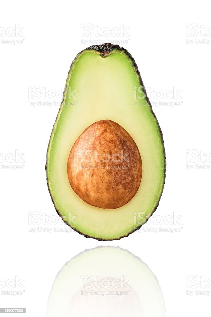 Half of Avocado fruit, slice, isolated on white background stock photo