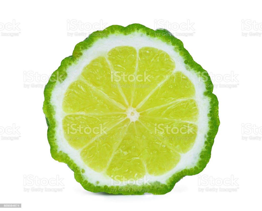 la moitié de la bergamote isolé sur fond blanc - Photo