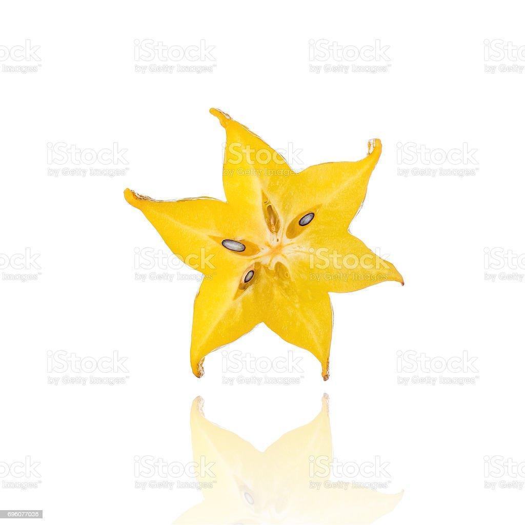 Half Of Carambola Star Fruit Slice Isolated On White Background