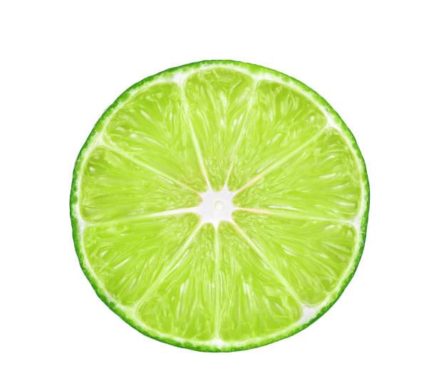 half of fresh lime isolated on white background stock photo